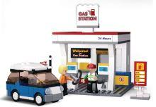 SLUBAN stavebnice Town Čerpací stanice, 167 dílků (kompatibilní s LEGO)