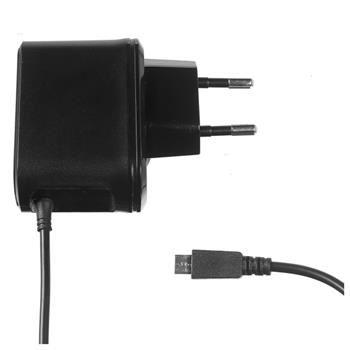 Cestovní nabíječka CELLY s konektorem microUSB, 2,1A, černá, blister