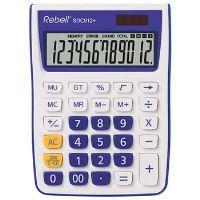 12místná duálně napájená stolní kalkulačka REBELL pro kancelář i domácí použití, modrá