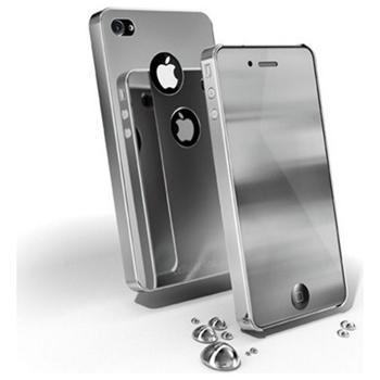 Chromový kryt CellularLine CHROME pro Apple iPhone 4, stříbrný + fólie se zrcadlovým efektem