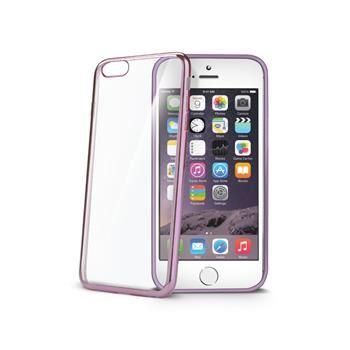 TPU pouzdro CELLY Laser - lemování s kovovým efektem pro Apple iPhone 6/6S, fuchsiové