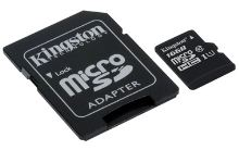 16GB microSDHC Kingston CL10 UHS-I 80R + SD adap.