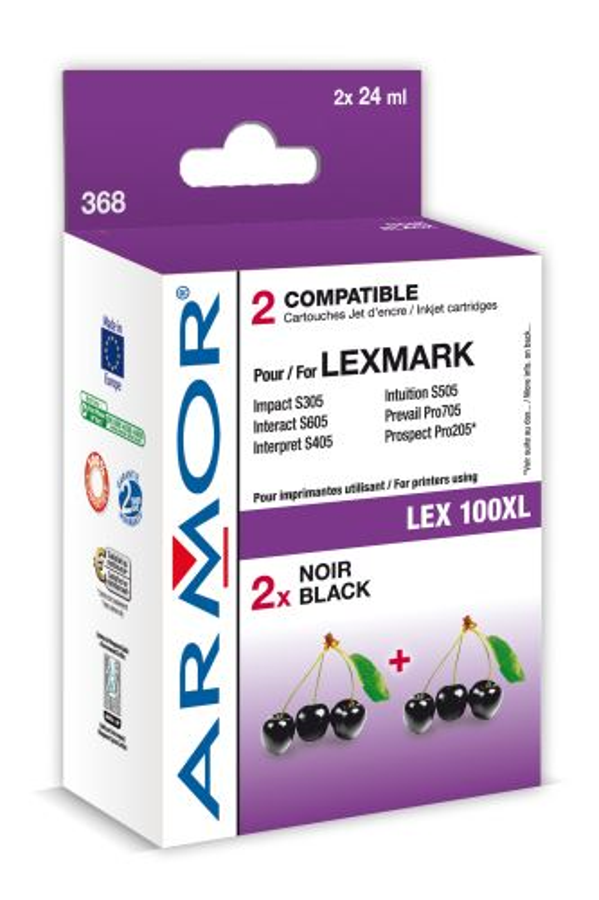 Armor ink-jet Lexmark bi-pack, 2x24ml (LEX100XL B)