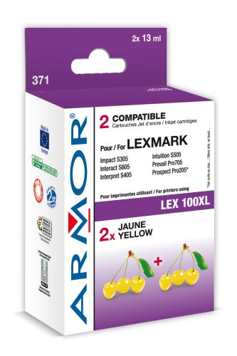 Armor ink-jet Lexmark bi-pack, 2x11ml (LEX100XL Y)