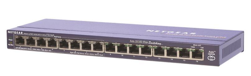 NETGEAR 16x10/100 DESKTOP SWITCH + 8xPoE port