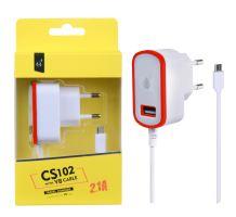 Nabíječka PLUS MicroUSB s USB výstupem 5V/2,1A, červená