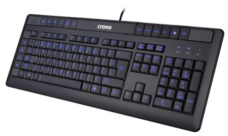 !! AKCE !! Crono CK2113 - multimediální klávesnice, CZ / SK, USB, černá, modré podsvícení