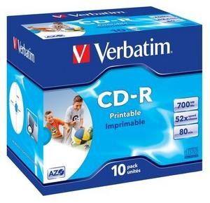 CD-R médium Verbatim Printable DataLifePLUS Super AZO 80m/700MB 52x Jewel