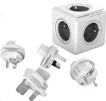 Allocacoc PowerCube ReWirable + Travel Plugs, white/grey