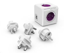 Allocacoc PowerCube ReWirable USB + Travel Plugs, white/pink