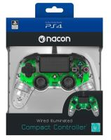 Nacon Wired Compact Controller - ovladač pro PlayStation 4 - průhledný zelený