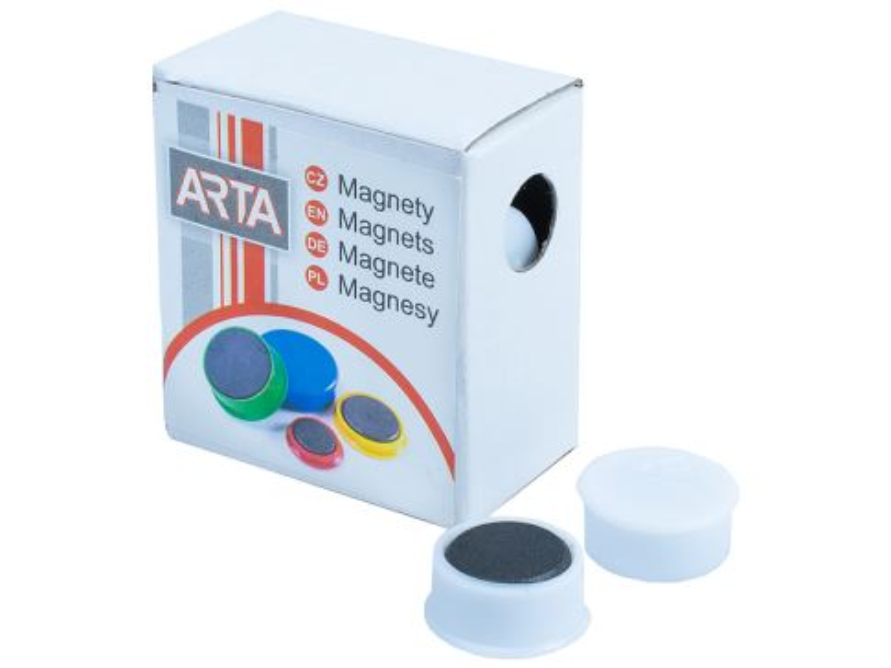 Magnety ARTA průměr 16mm, bílé (10ks v balení)