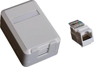 EuroLan UTP zásuvka na omítku, 1x RJ45, bílá, Cat.6 keystone
