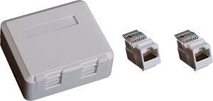 EuroLan UTP zásuvka na omítku, 2x RJ45, bílá, Cat.6 keystony