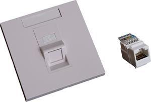 EuroLan UTP zásuvka pod omítku, 1x RJ45, 45°, bílá, Cat.6 keystone