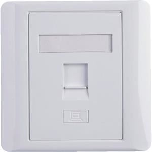 EuroLan modulární UTP zásuvka pod omítku, pro 1x keystone, bílá, bez keystonu