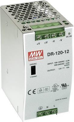 MEAN WELL DR-120-12 Spínaný zdroj na DIN lištu  120W 12V