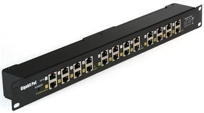 """MaxLink Gigabit POE panel 12 portů, 1U pro rack 19"""", stíněný, černý"""